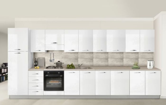 Cucine Lucide Moderne.Cucina Componibile Bianco Lucido